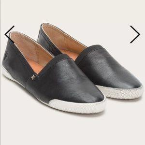 Frye Black Leather Melanie Slip On Shoes - Size 8M